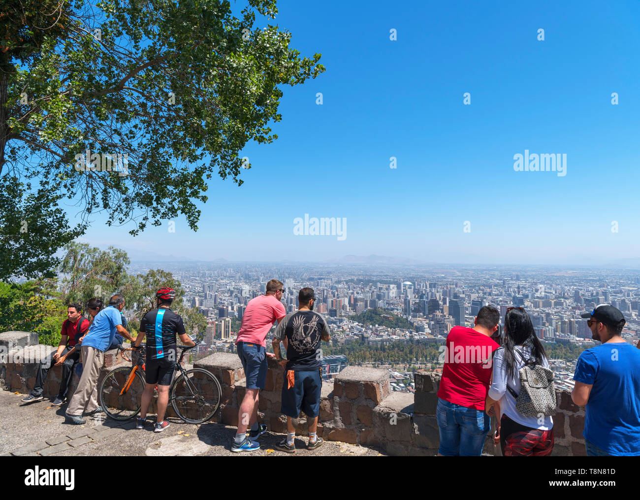 View over the city from the summit of Cerro San Cristóbal (San Cristóbal Hill), Santiago, Chile, South America - Stock Image