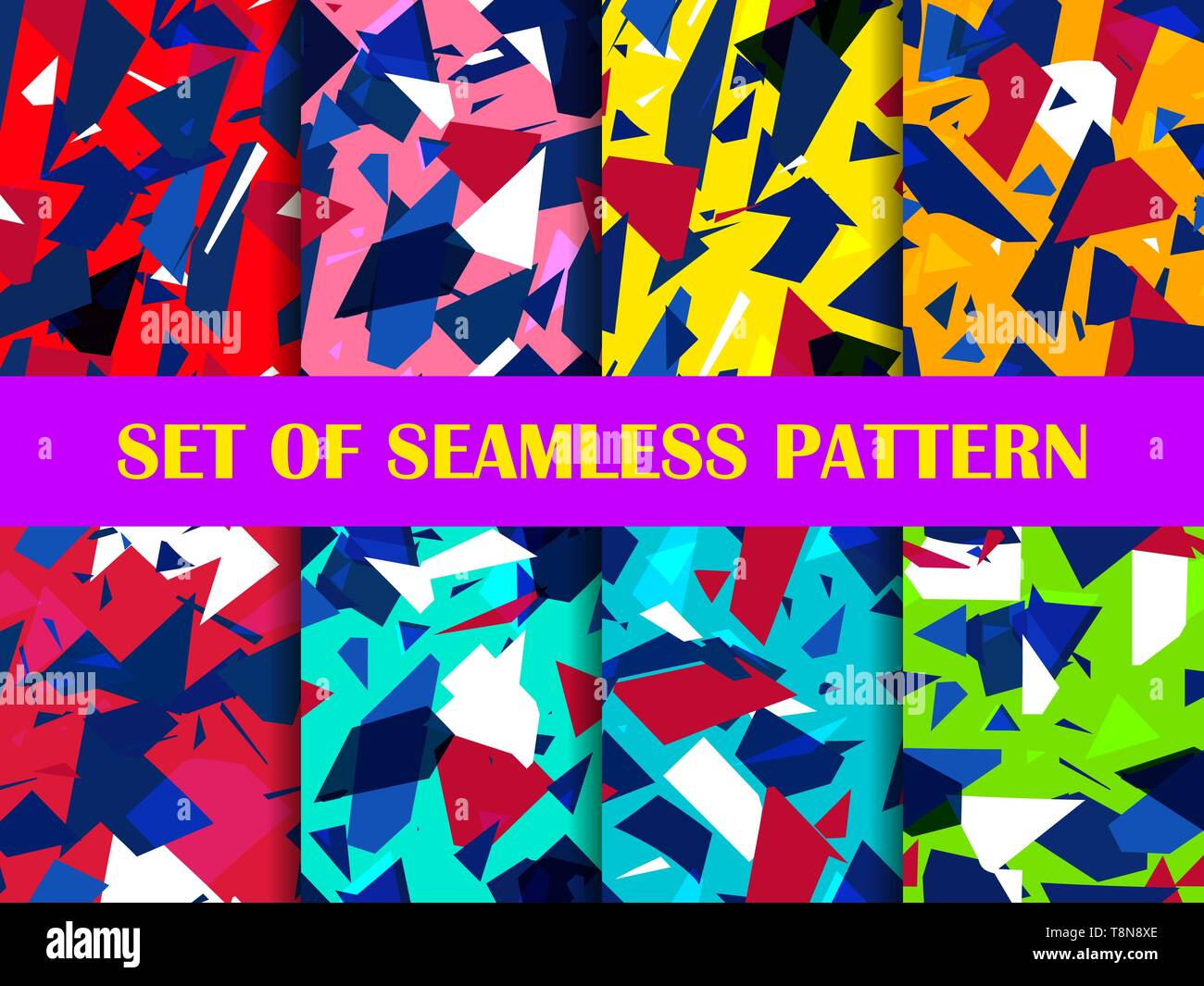 Glass explosion seamless pattern set. Broken particles. Colorful scatters of particles. Geometric shapes. Vector illustration - Stock Vector