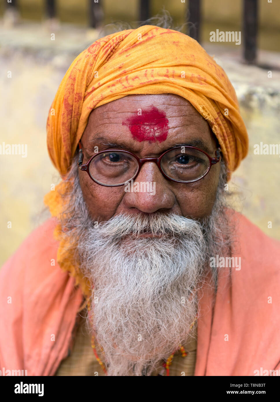Portrait of an Indian man, Old City of Varanasi, India - Stock Image