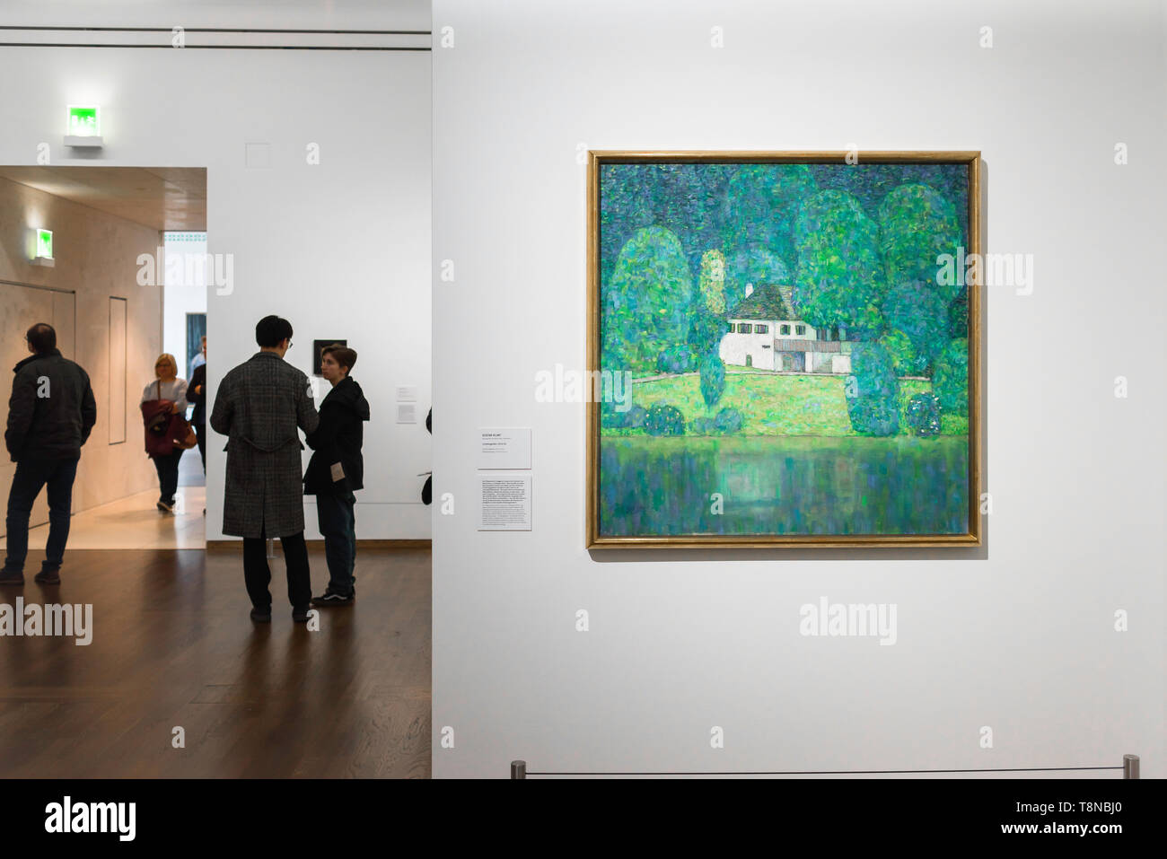 Klimt Leopold Museum, view of a landscape by Gustav Klimt titled Litzlbergkeller Am Attersee hanging in the Leopold Museum in Vienna, Austria. Stock Photo
