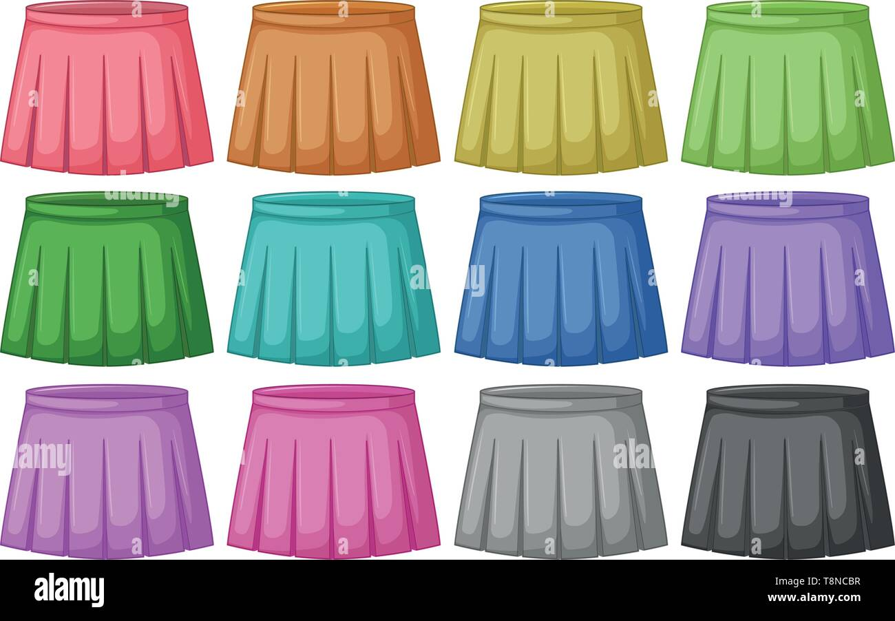 Set of different colored skirts illustration - Stock Vector