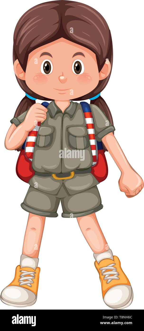 Cute girl with pigtails illustration - Stock Image