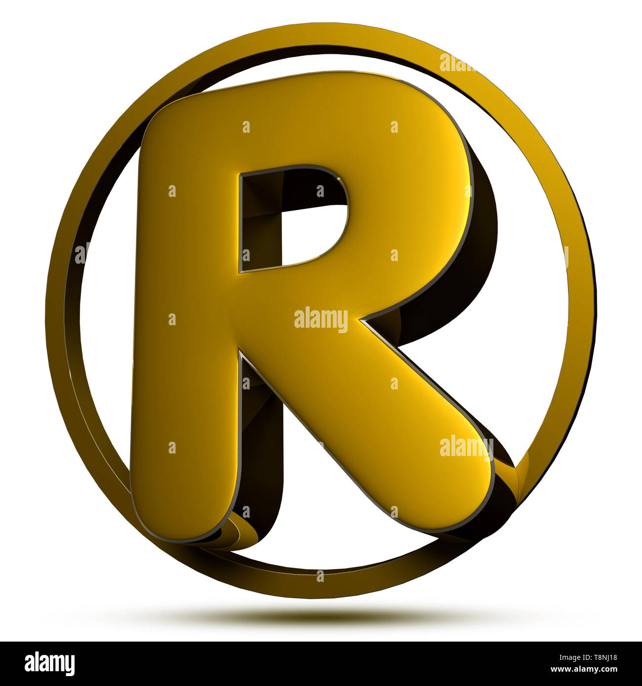 Letter R 3d gold 3D rendering on white background (with