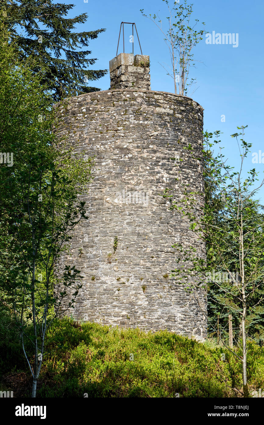 Birmingham Water Board Observatory Tower near Fishpools car park, Radnor Forest, Powys, Wales - Stock Image