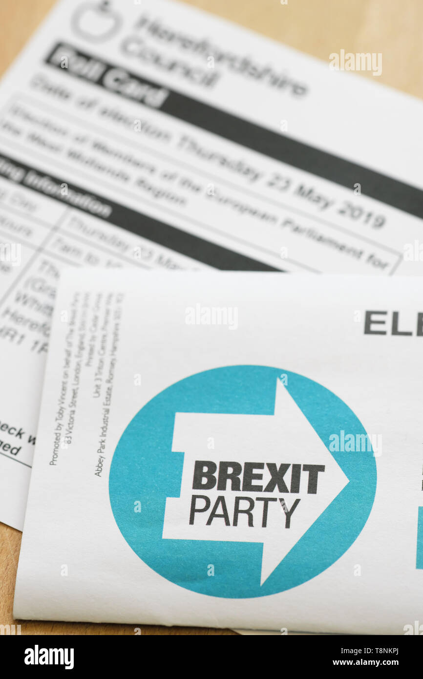 Brexit Party leaflet with EU European Election voter Poll Card behinf UK May 2019 - Stock Image