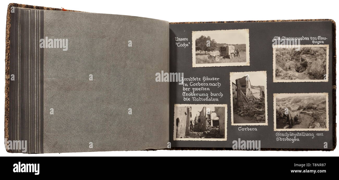Two photo albums of the Spanish Civil War (1936-39) - Condor Legion 315 first rate technical, battle and terrain images. The albums are very well-inscribed, the photos affixed using adhesive corners. Numerous images of trucks and tanks in the field, aircraft (Me 109, He 111 etc.), cities and villages in Spain (Taragona, Olot, Barcelona, Sababell, Toledo, Madrid among others). Also, bunkers and positions, troop build-ups, destroyed buildings and vehicles, battles on all fronts up to the peace agreement and following journey home by German ships. Rare photos from the period o, Editorial-Use-Only - Stock Image