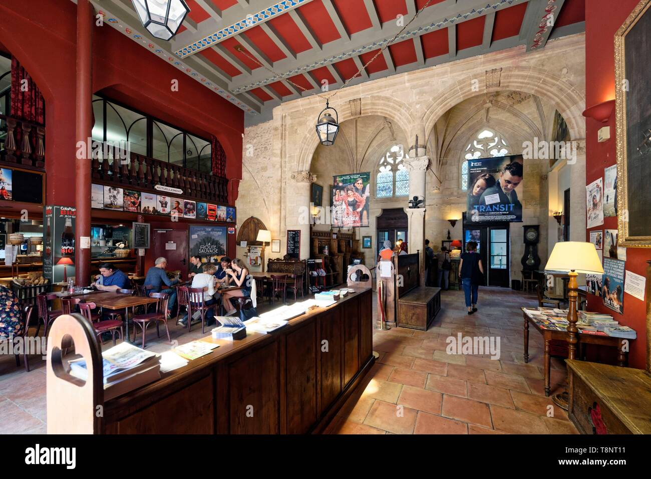 France, Gironde, Bordeaux, area listed as World Heritage by UNESCO, Place Camille Jullian, Art and essay cinema Utopia, housed in a former desecrated  - Stock Image