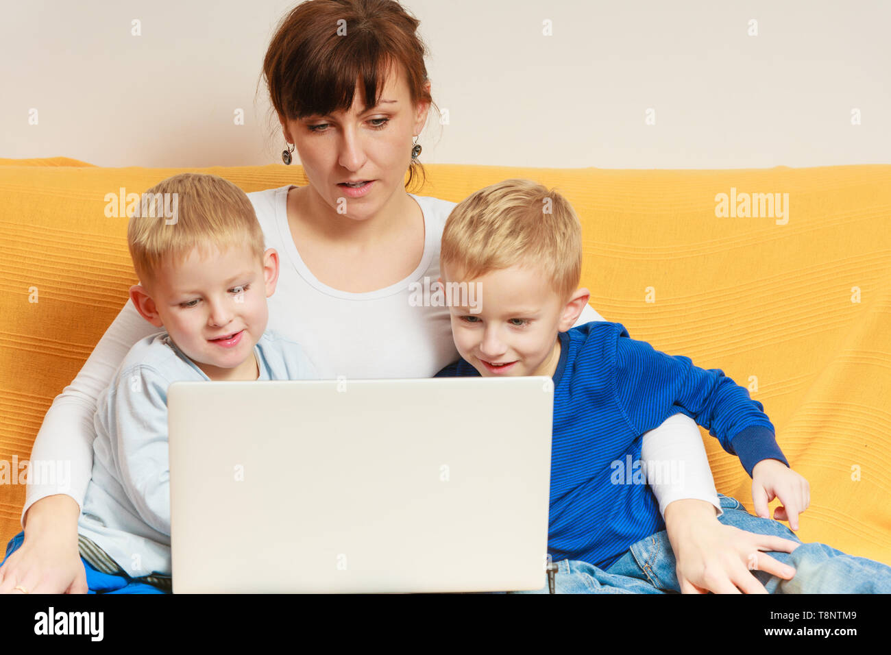 Children and technology, family spending free time online concept ...