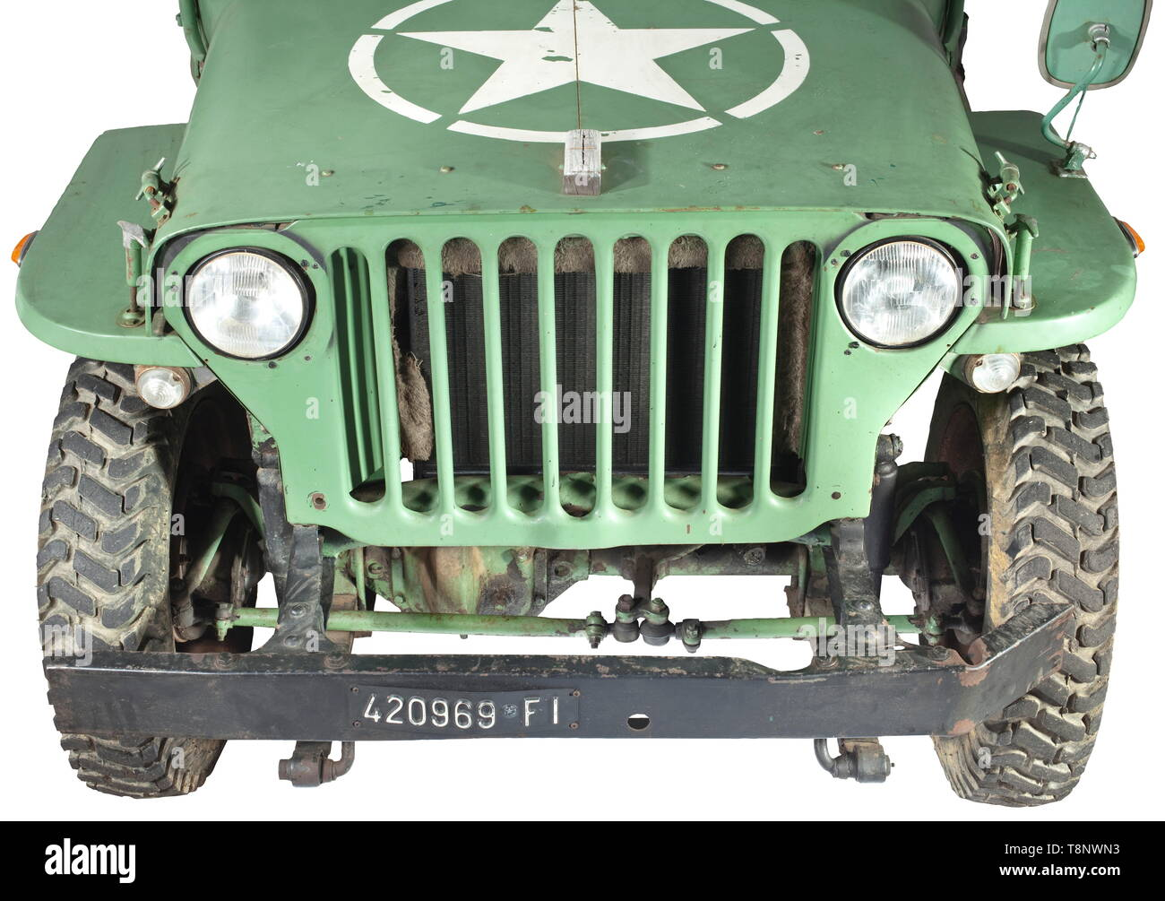 A jeep Willys MB Estimated year of production: 1945. Roadworthy. Chassis number covered by underbody protection. Original chassis: Main frame not corroded, welded or bent, original drive train (universal joints in good order). Engine (approx. 50 HP) original as well as air filter, gearbox (leaking), front and rear axle. Solex carburettor. 16-inch rims (post war production), tyres renewed. Undented, body in good condition. Doors and stick windows replaced. Bonnet, mud guards and grill can easily be put back into their original condition. New varni, Additional-Rights-Clearance-Info-Not-Available - Stock Image