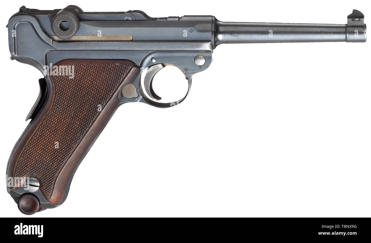 A Parabellum mod. 1900/06 W+F Cal. 7.65 Parabellum, no. 28104. Matching numbers. Bright bore, barrel length 120 mm. Grip safety. Without 'P' for privatisation. On front toggle link marked 'Waffenfabrik Bern'. Original finish only stained on grip. Small and operational parts strawed. Walnut grip panels. Correct magazine. Very good condition. Erwerbsscheinpflichtig. historic, historical, 20th century, Additional-Rights-Clearance-Info-Not-Available - Stock Image