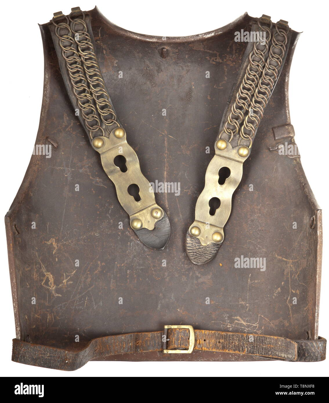 """A cuirass M 1825 for enlisted men of the cuirassiers Heavy sheet iron cuirass with brass rivets and thick leather straps. Breastplate dated """"Klingenthal 1828, No. 1647"""". Without lining. Good original condition. historic, historical, French Restauration, France, French, militaria, object, objects, stills, clipping, cut out, cut-out, cut-outs, 19th century, Additional-Rights-Clearance-Info-Not-Available Stock Photo"""