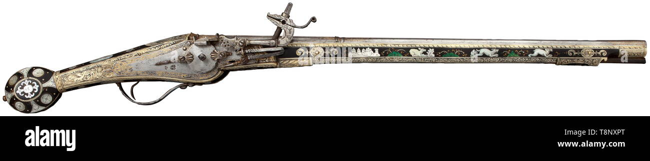 A significant luxury wheellock pistol, Nuremberg, circa 1590/1600 Slender r 16th century, Additional-Rights-Clearance-Info-Not-Available - Stock Image