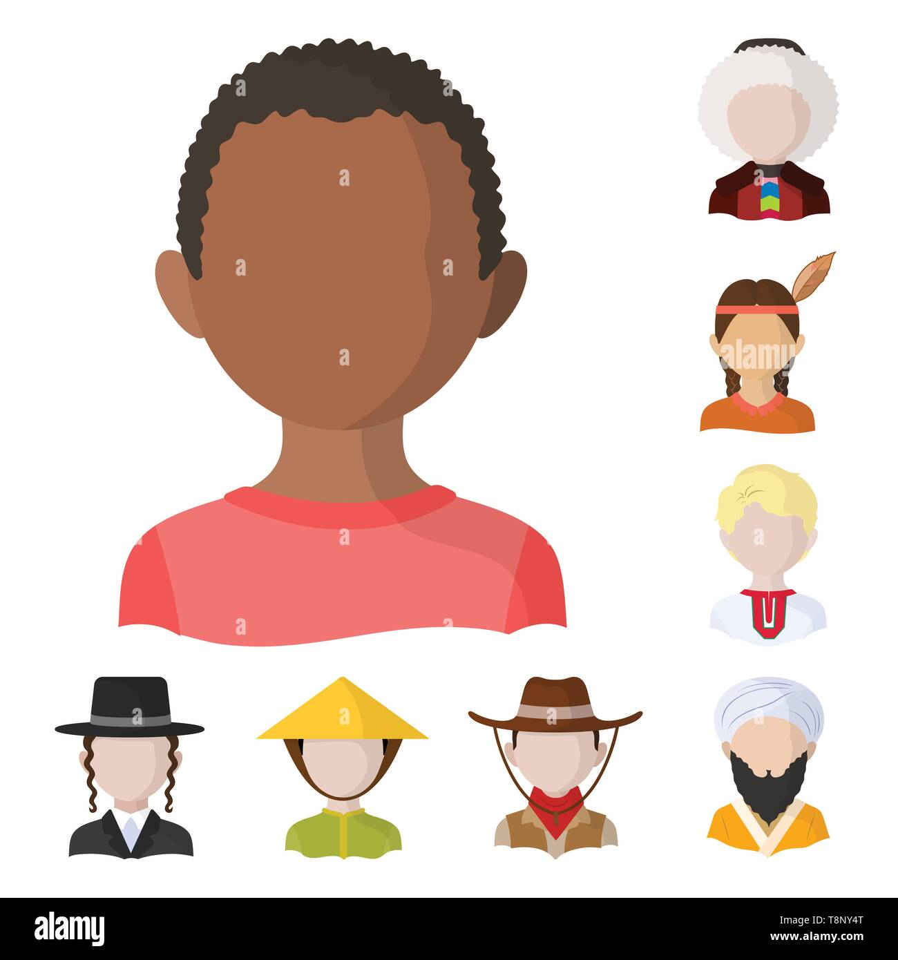 Vector design of nation and race  icon. Collection of nation and user vector icon for stock. - Stock Image
