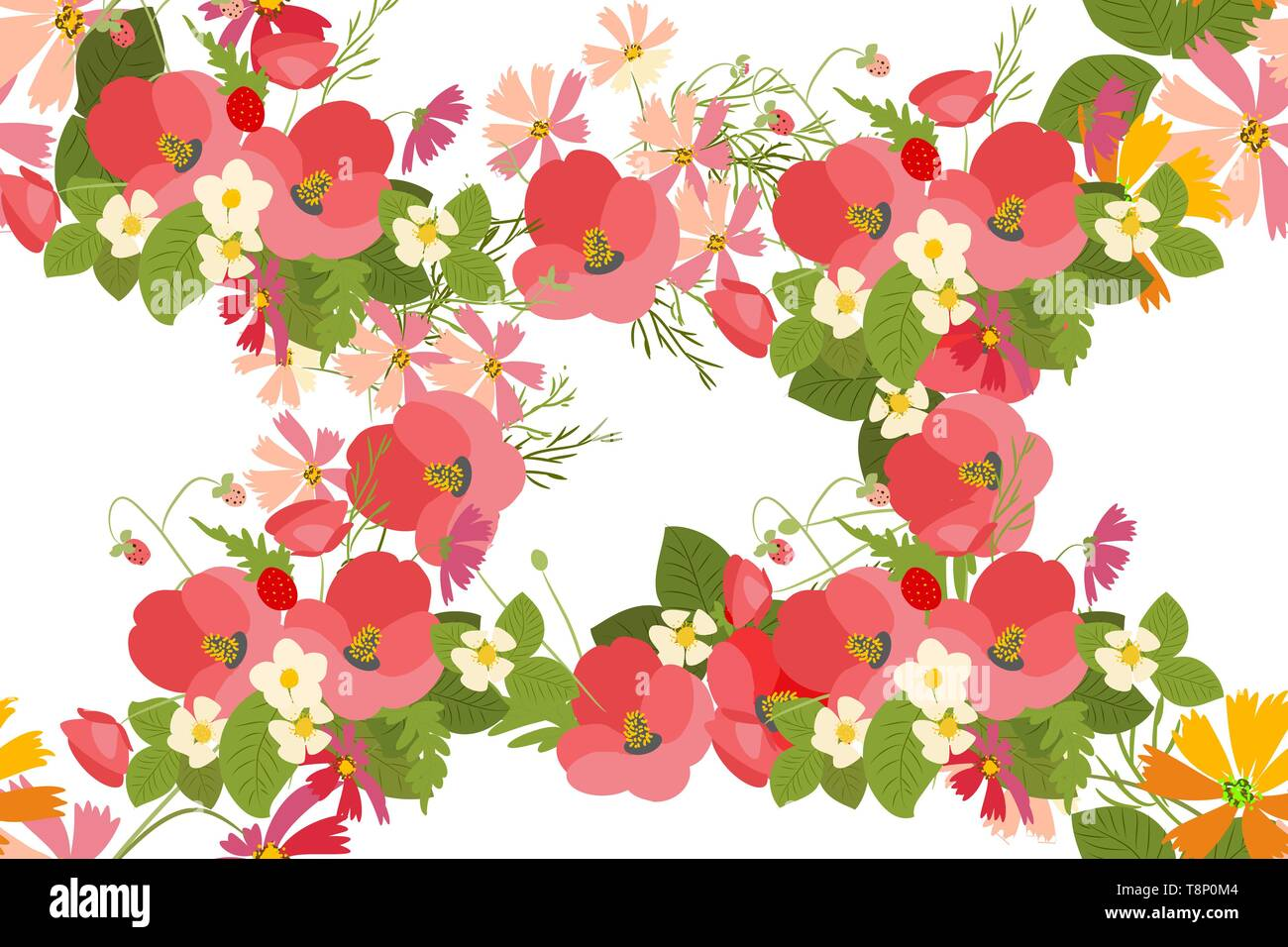 Floral background poppy and cosmos strawberries vector illustration  - Stock Vector