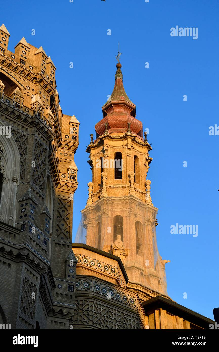 Spain, Aragon Region, Zaragoza Province, Zaragoza, La Seo, San Salvador Cathedral, listed as World Heritage by UNESCO - Stock Image