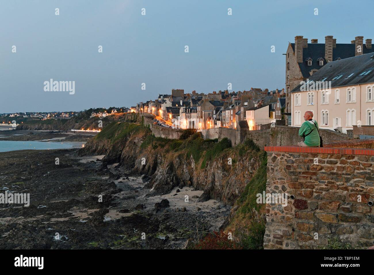 France, Manche, Cotentin, Granville, the Upper Town built on a rocky headland on the far eastern point of the Mont Saint Michel Bay (MR-RM) - Stock Image