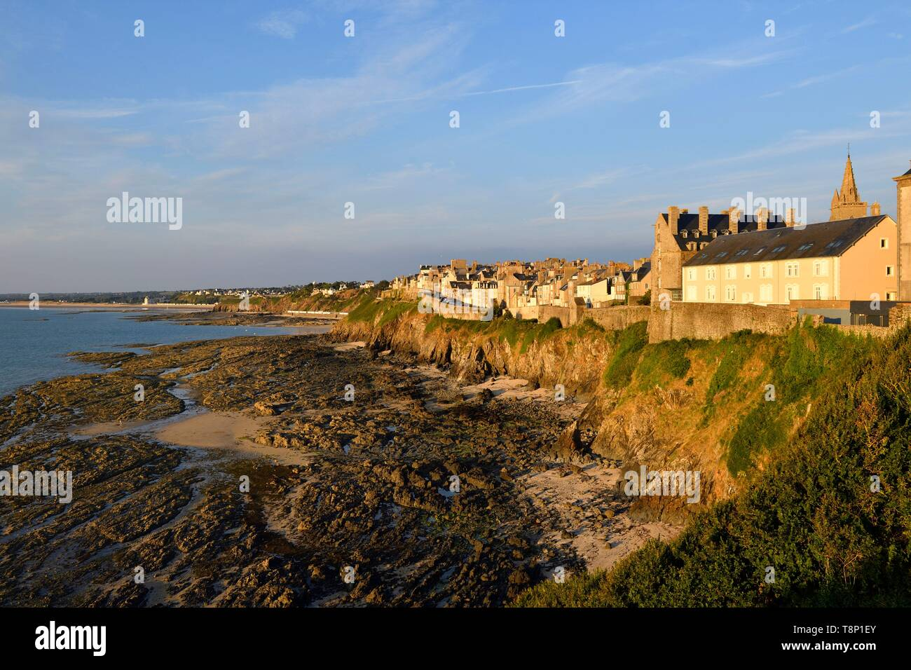 France, Manche, Cotentin, Granville, the Upper Town built on a rocky headland on the far eastern point of the Mont Saint Michel Bay - Stock Image