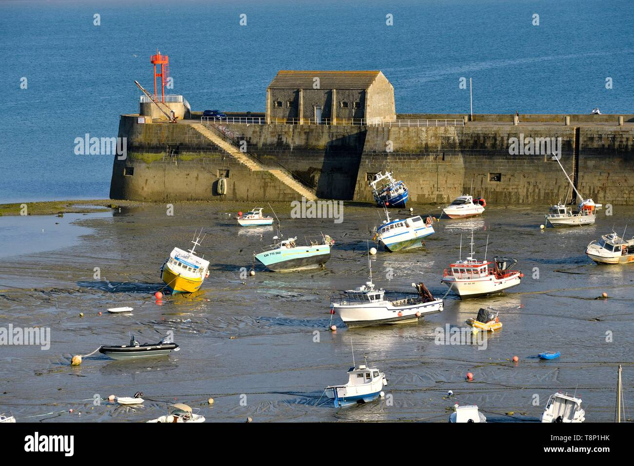 France, Manche, Cotentin, Granville, the Upper Town built on a rocky headland on the far eastern point of the Mont Saint Michel Bay, the port - Stock Image