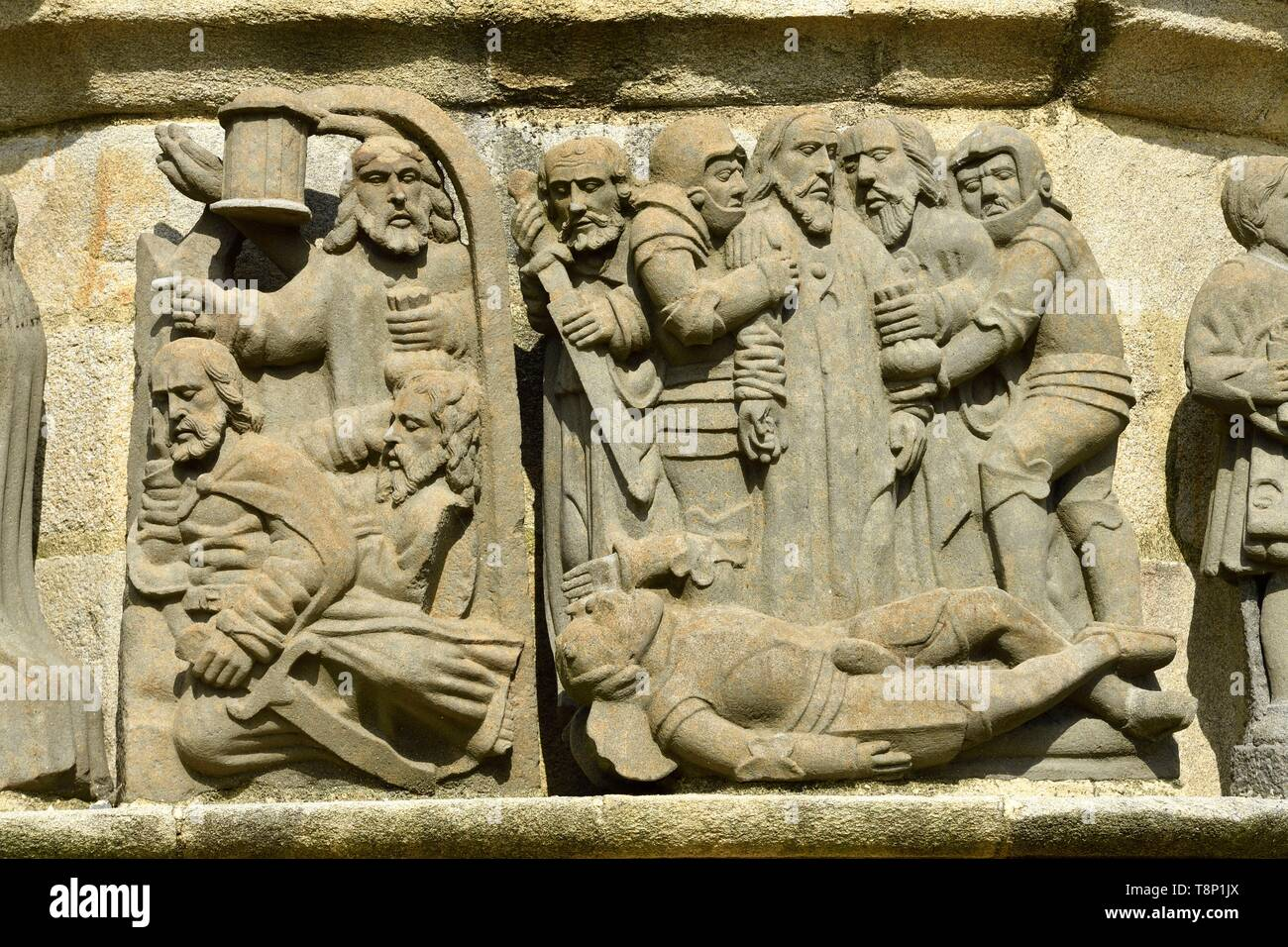 France, Finistere, stop on the Way of St James, Plougonven, parish enclosure, the calvary (1554), life of the Christ scenery - Stock Image