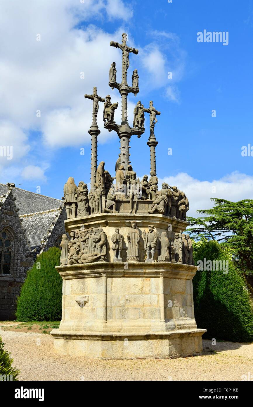 France, Finistere, stop on the Way of St James, Plougonven, parish enclosure, the calvary (1554) - Stock Image