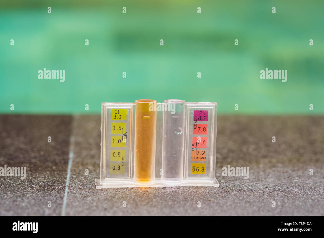 Measurement of chlorine and PH of a pool Stock Photo