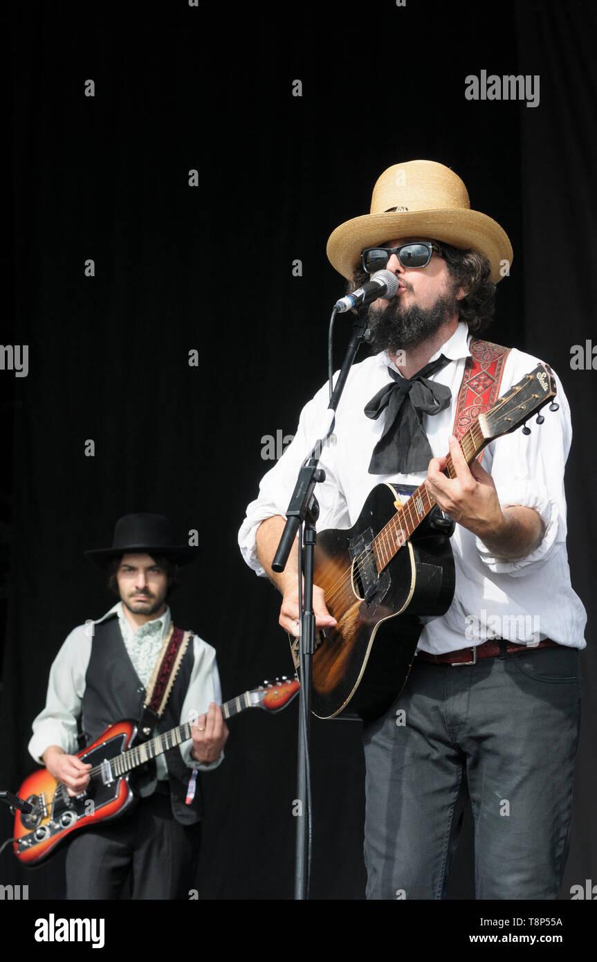 Vinicio Capossela and the La Banda della Posta (The Post Office Band) performing Womad Festival, Charlton Park, UK, July 27, 2014 - Stock Image