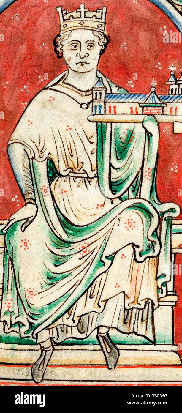 King John, King of England, c. 1250, from a 13th Century illustrated manuscript - Stock Image