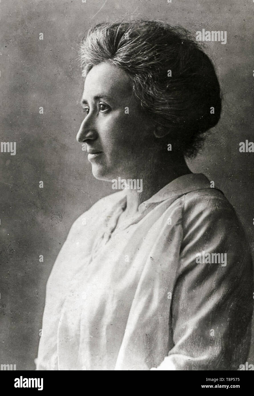 Rosa Luxemburg, profile, portrait photograph, c. 1910 Stock Photo