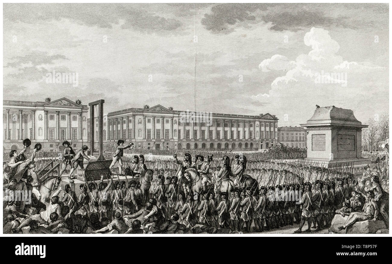 French Revolution. Execution of Louis XVI. 21 January 1793 the death of Louis Capet (Louis XVI) by Guillotine in the Place de la Revolution, Paris, engraving 1794 Stock Photo