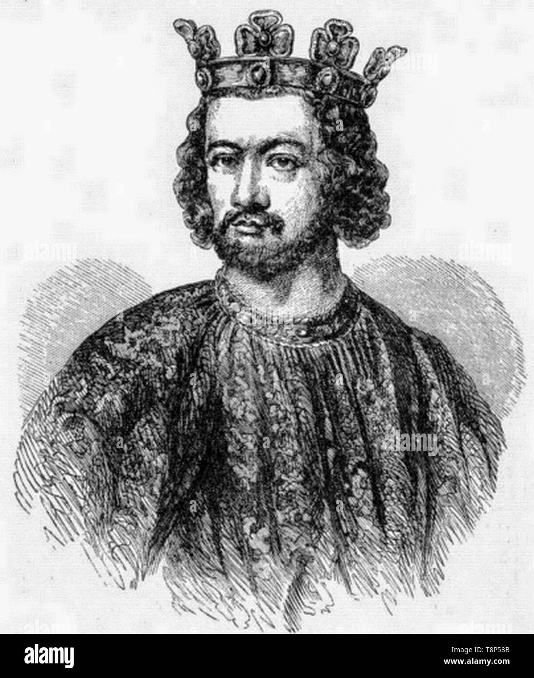King John, King of England, portrait engraving, 1865 - Stock Image