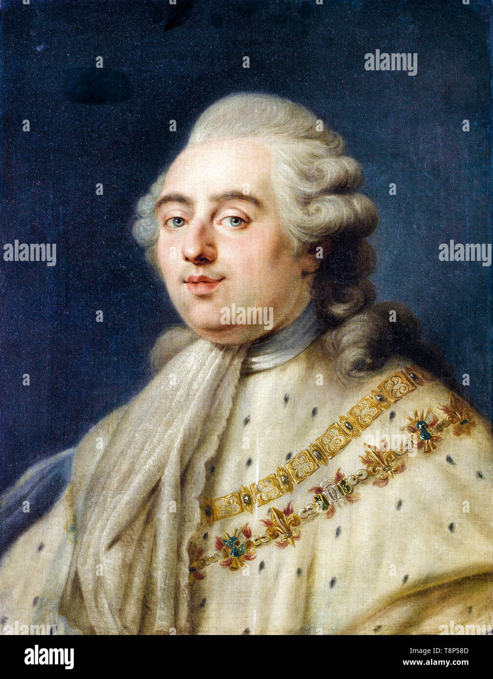 Portrait of King Louis XVI King of France, painting by the circle of Antoine-François Callet, 18th Century Stock Photo