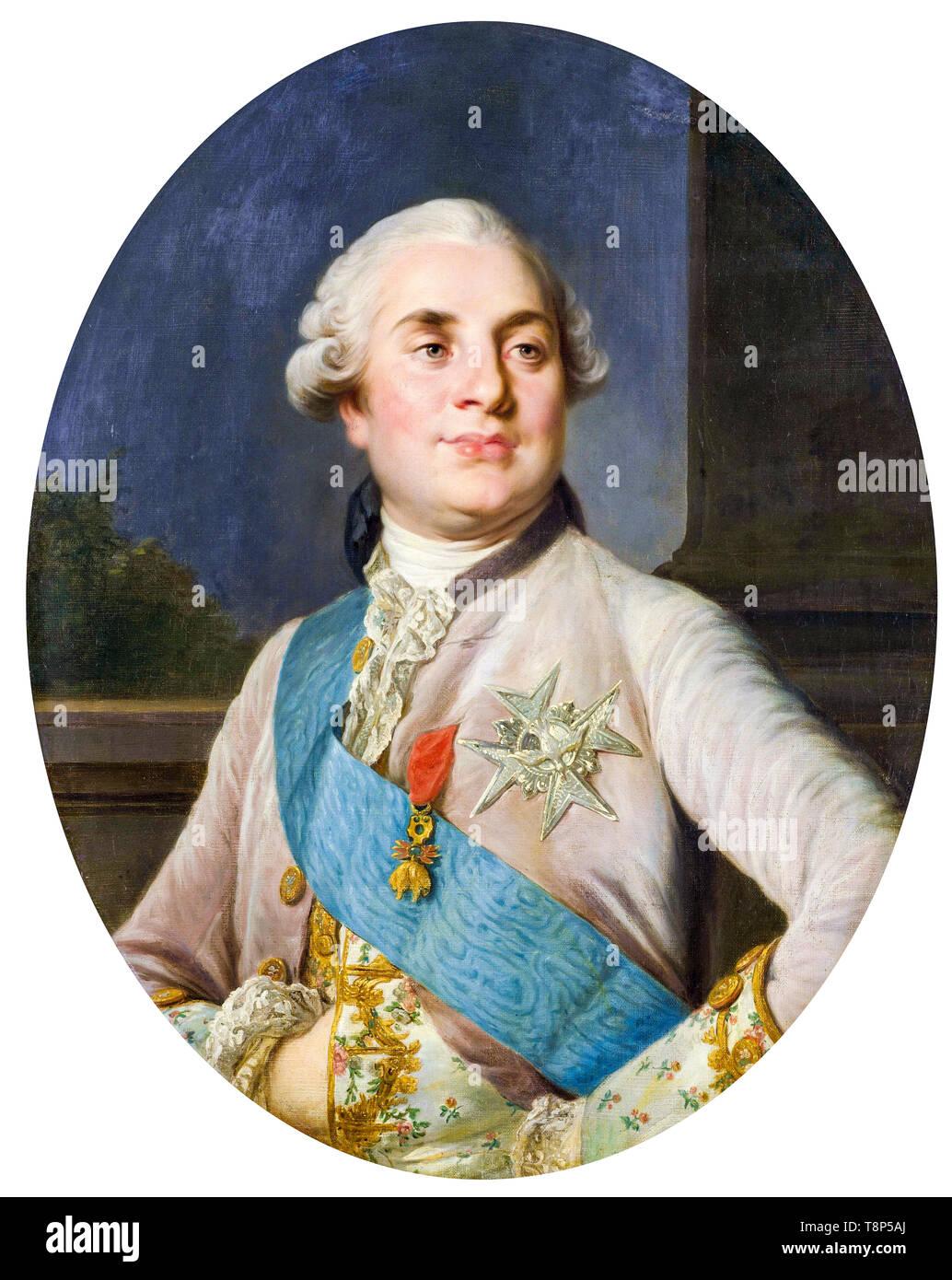 Portrait of Louis XVI, King of France, workshop of Joseph Siffrède Duplessis, c. 1777 - Stock Image