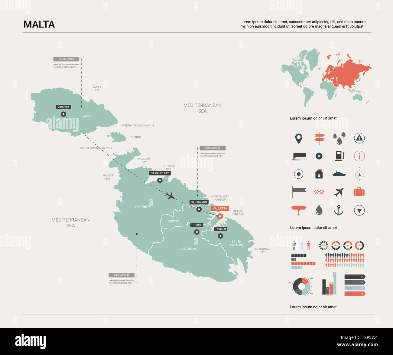 Vector map of Malta. Country map with division, cities and ...