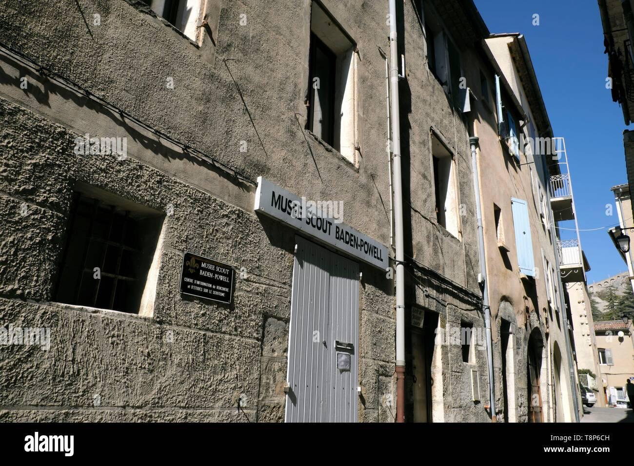 France, Alpes de Haute Provence, Sisteron, Rue de la Mission, Scout Baden Powel museum - Stock Image