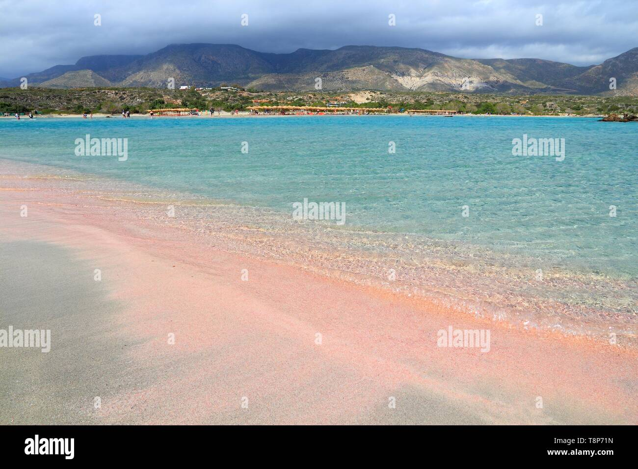 Pink Sand Beach Of Elafonisi Crete Island Greece Stock