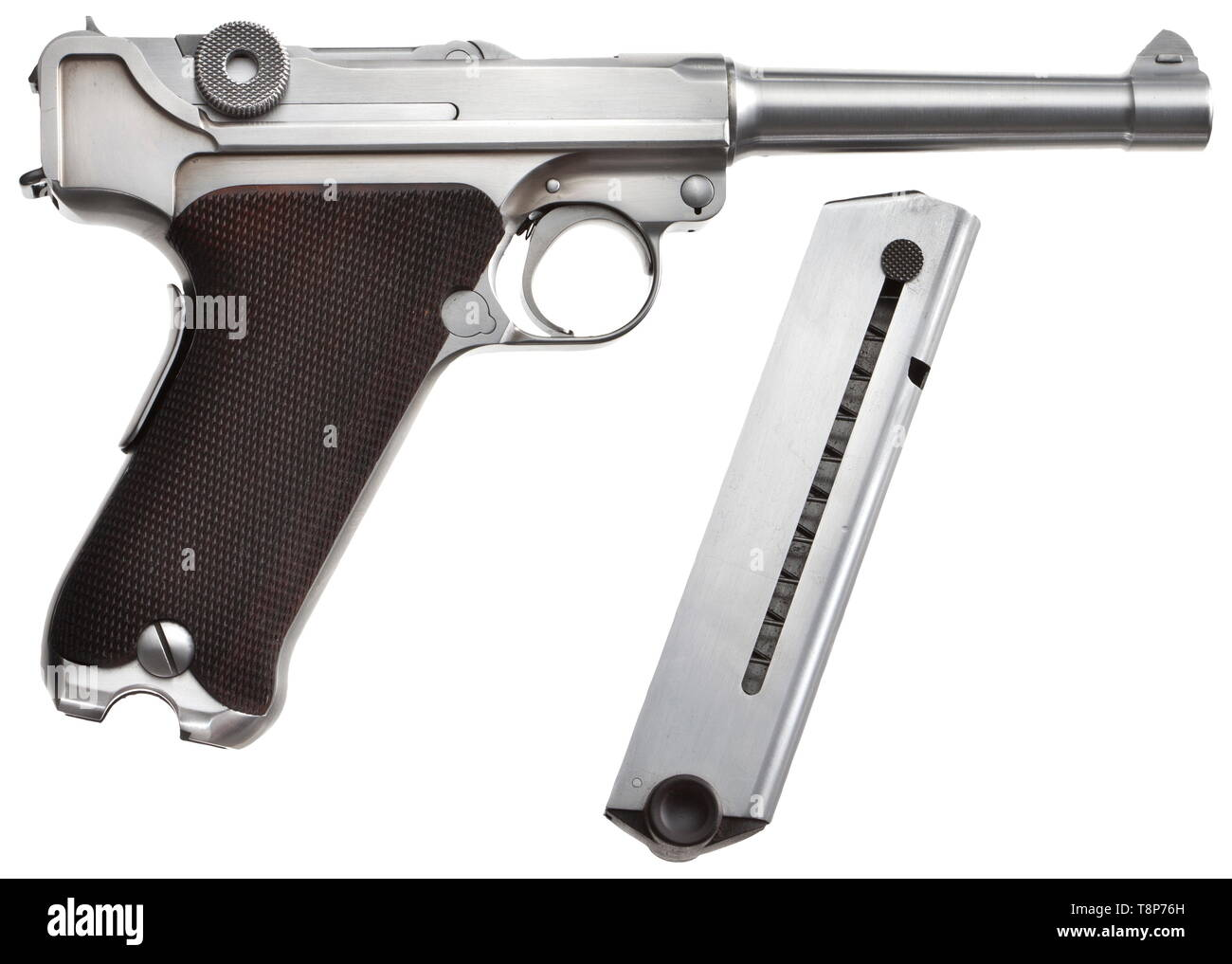 A Werle-Nedbal Parabellum, prototype Cal..45, ACP, no. 001. Mirror-like bore, length 125 mm. 7-shot magazine. German proof mark. Grip safety. Weapon completely in the white. Most minimal traces of contact due to assembly and proof marking. As new condition. Parts of the weapon manufactured at Karl Nedbal's in Vienna. Completed and assembled by German Parabellum specialist Herbert Werle. The first exemplar of the co-operation between both the renowned specialists Nedbal and Werle. Manufacturing marks 'NK' and 'Werle' on weapon. With this weapon He, Additional-Rights-Clearance-Info-Not-Available - Stock Image