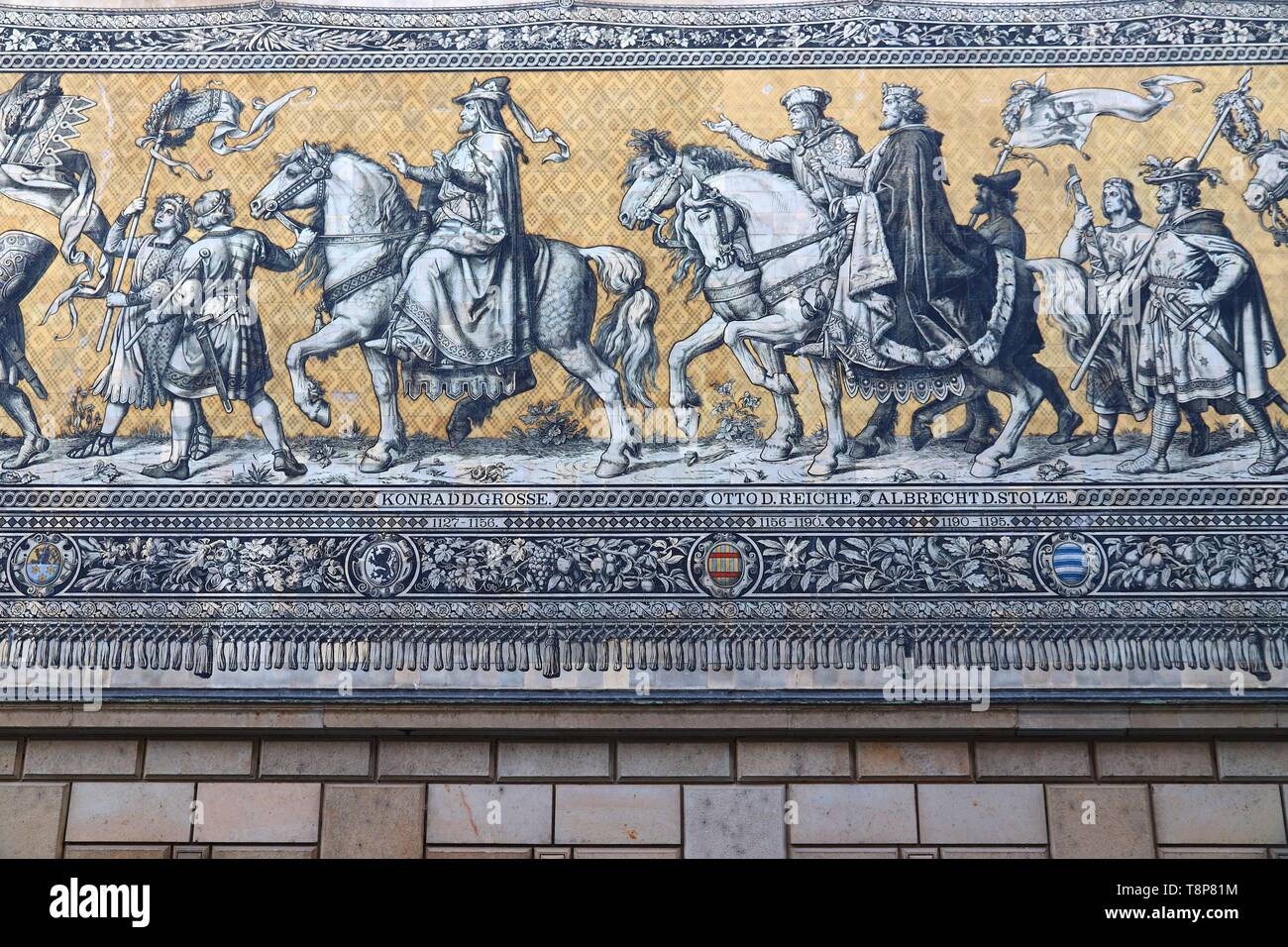 DRESDEN, GERMANY - MAY 10, 2018: Furstenzug (Procession of Princes), a mural mosaic of painted Meissen tiles depicting procession of rulers of Saxony. - Stock Image