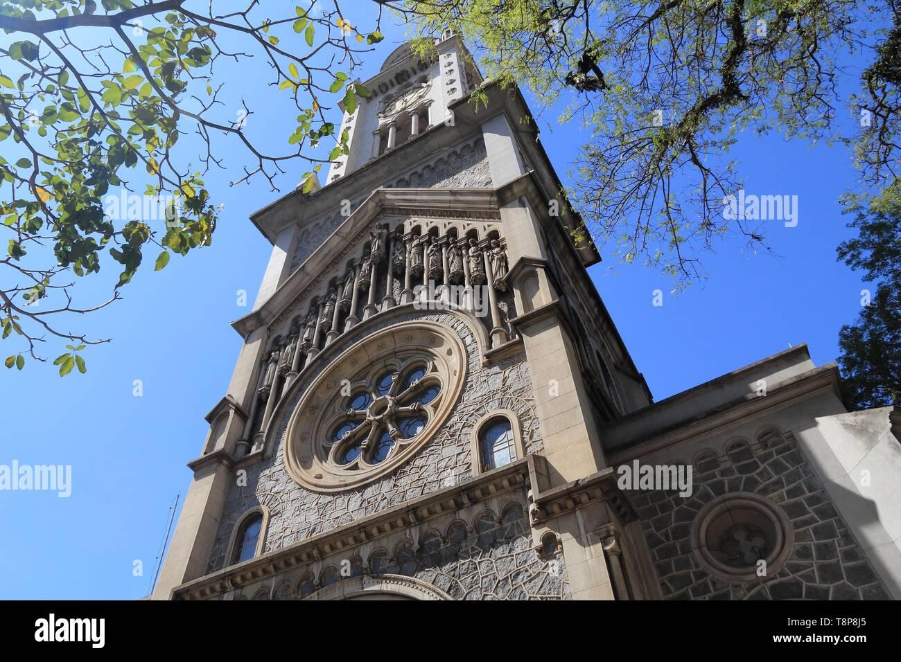Church in Sao Paulo, Brazil. Nossa Senhora da Consolacao - Romanesque Revival style architecture. - Stock Image