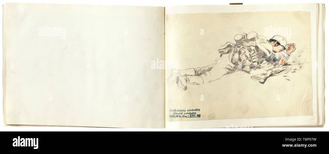 Erich R. Döbrich-Steglitz - a sketch folder of the Western Front Second World War. Grey linen cover, on the inside 'Papeteries Nias - La Maison du Registre - 59, Rue Neuve, Bruxelles'. 28 sketch sheets, numerous comments, all sheets bear the stamp of the OKW (High Command of the Wehrmacht) dated 3 August 1940: 'Veröffentlichung unbedenklich - Widerruf vorbehalten' ('No objection to publication - subject to revocation'). 28 sketch sheets with drawings of excellent quality, most of them have probably been published. Provenance: Collection Keith Wilson, Kansas City. historic, , Editorial-Use-Only - Stock Image