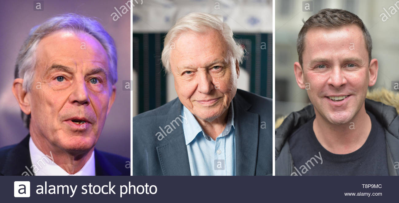 File photos of (from the left) Tony Blair, David Attenborough and Scott Mills. - Stock Image
