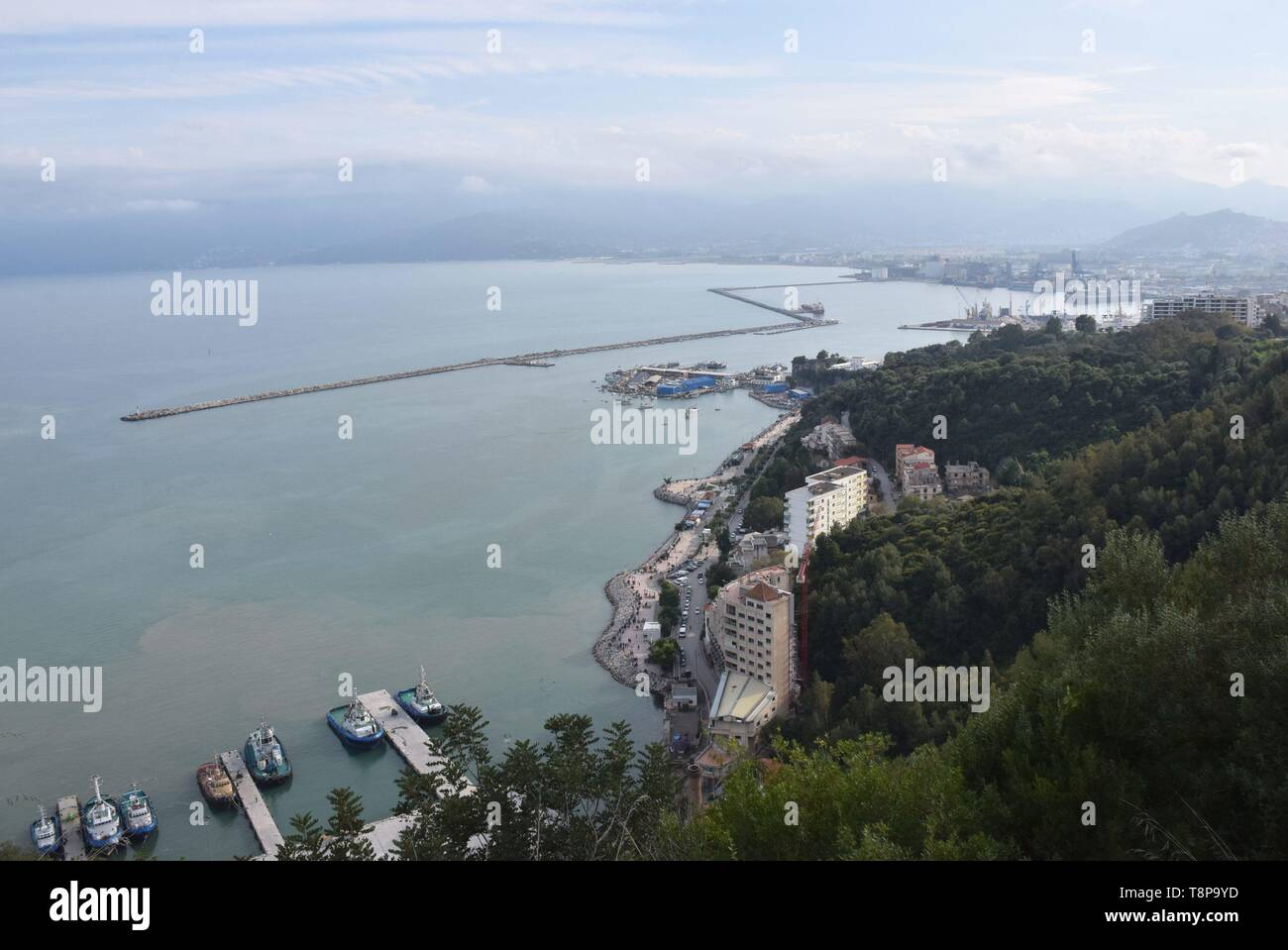 City, harbor and ships on 02.04.2019 in Bejaia - Algeria. | usage worldwide Stock Photo