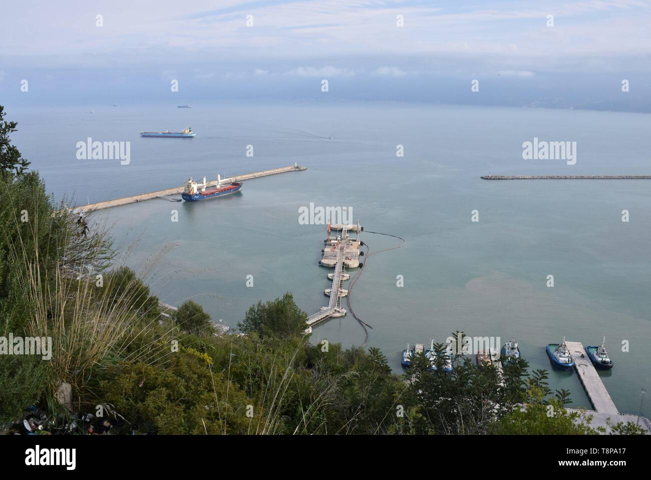 Ships on 02.04.2019 in the port of Bejaia - Algeria. | usage worldwide Stock Photo