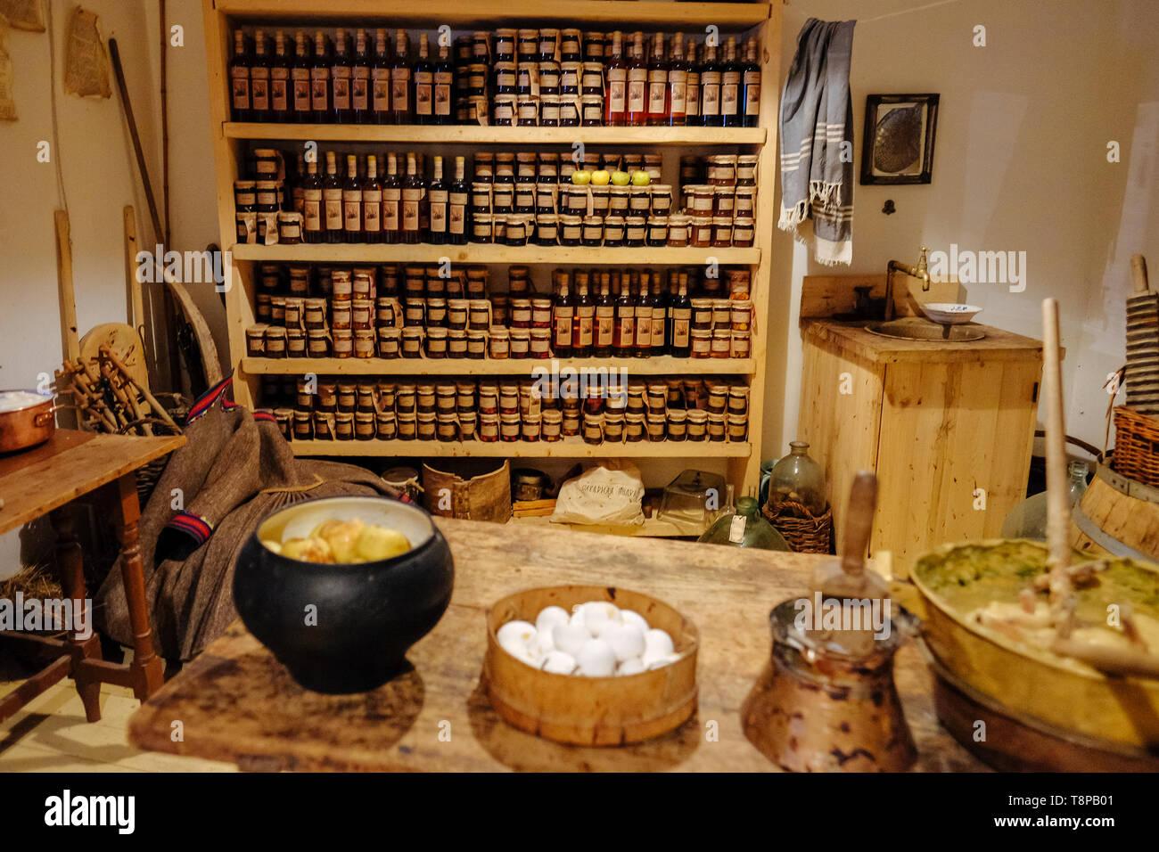 antique kitchen utensils. Kitchenware - Stock Image