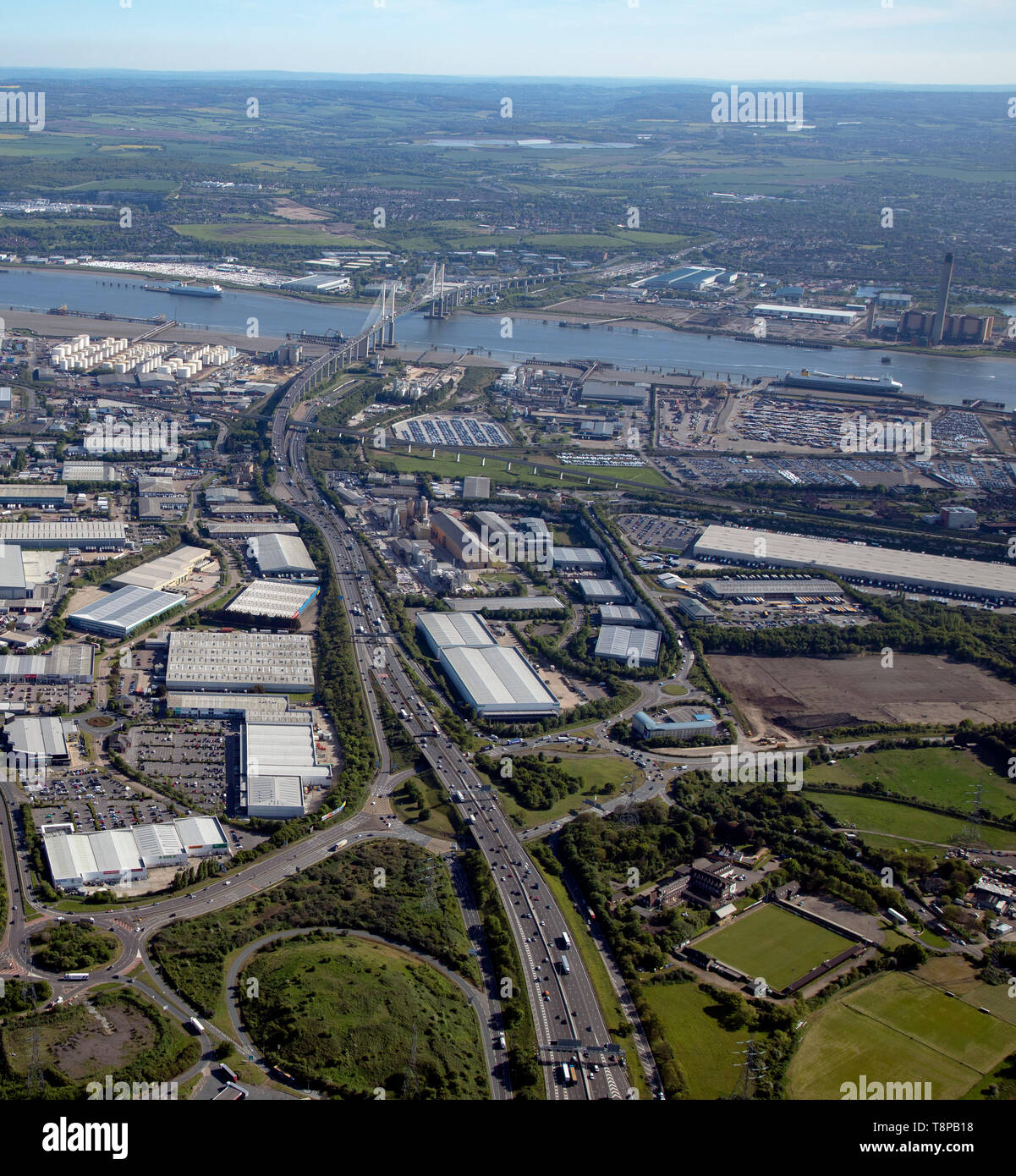 aerial view of the A282 (from over the M25) looking South towards the QE2 Bridge,Thurrock, Essex - Stock Image