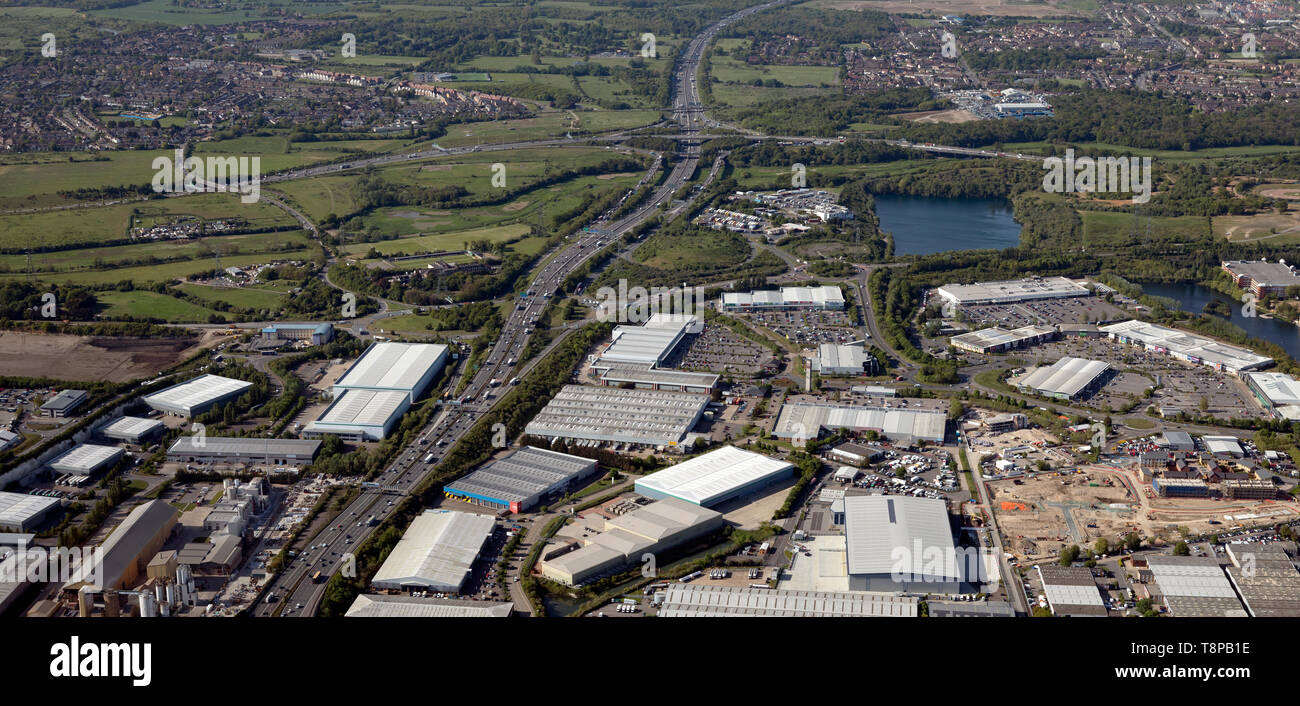 aerial view of the A282 (becoming M25) looking North to junction 30 where it meets the A13, Thurrock, Essex - Stock Image