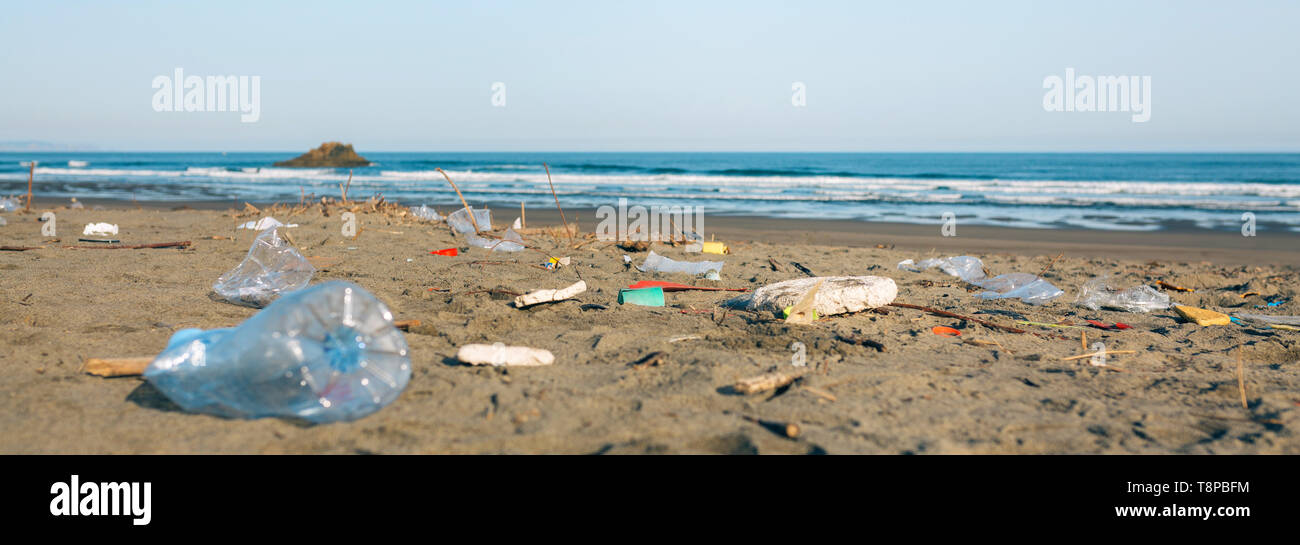 Dirty beach landscape full of waste - Stock Image