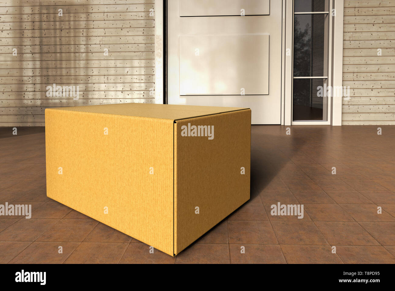 3D rendering of a box from an online purchase delivered to the front door. - Stock Image