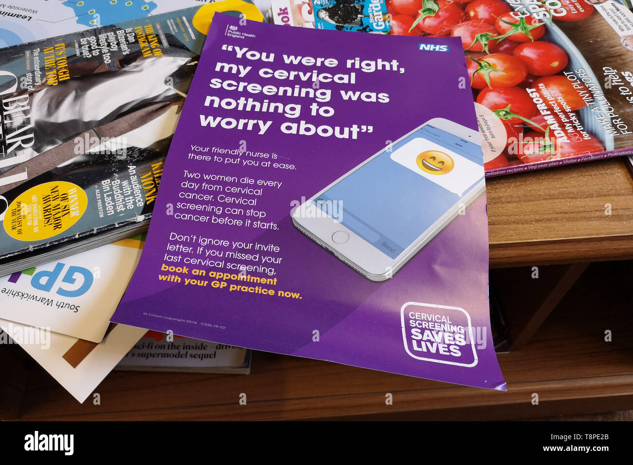A leaflet with advice for patients about Cervical Screening seen in an NHS local doctors surgery waiting room in Warwickshire, UK, On May 14, 2019. Stock Photo
