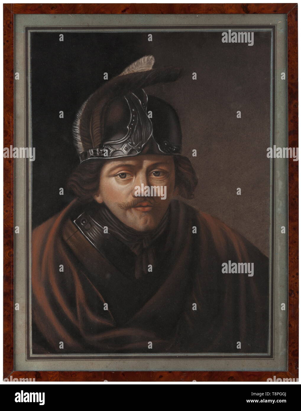 A pastel colour portrait of an East European aristocrat, 19th century Pastel colour on paper. Half-length figure with gorget and helmet in the style of the 17th century. Behind glass in a modern root wood frame. Dimensions of the painting 65 x 51 cm, dimensions of the frame 68.5 x 53.5 cm. historic, historical, fine arts, art, 19th century, Additional-Rights-Clearance-Info-Not-Available - Stock Image
