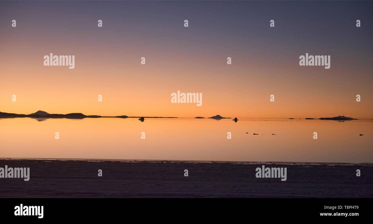 Sunset On The Salt Flats Of Salar De Uyuni Bolivia Stock